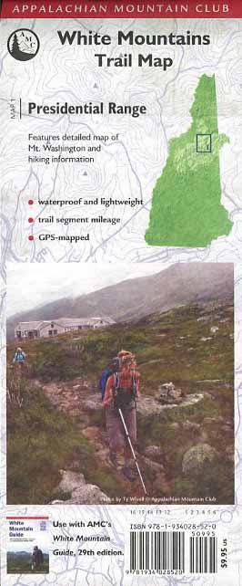 White Mountains Trail Map: Presidential Range Book - Bondcliff Books